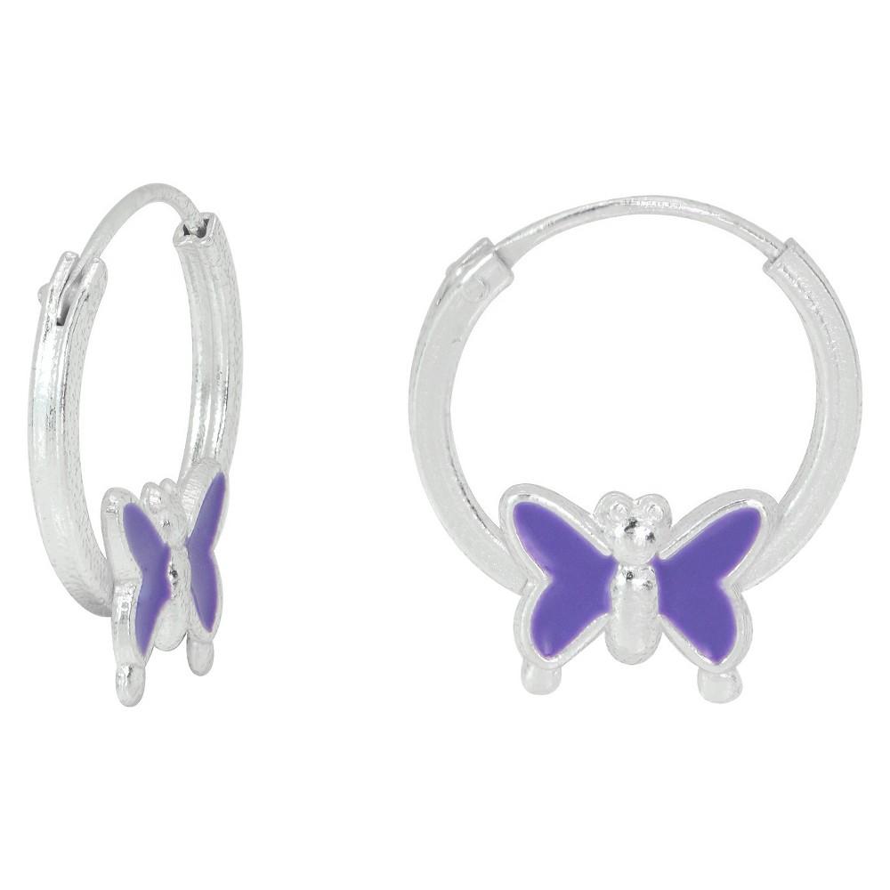 Target Girls' Sterling Silver Endless Hoop With Purple En...