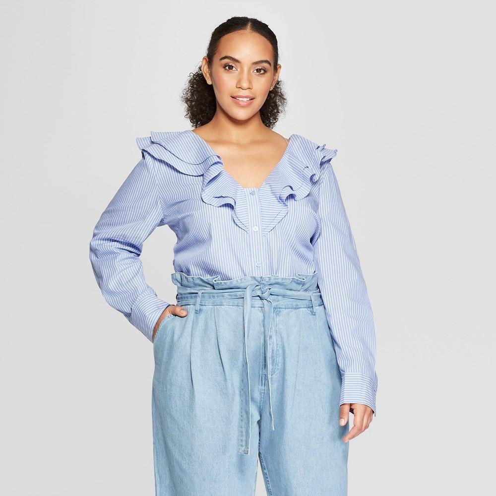 Women's Plus Size Pinstripe Long Sleeve Ruffle Detail Blouse - Who What Wear Blue X