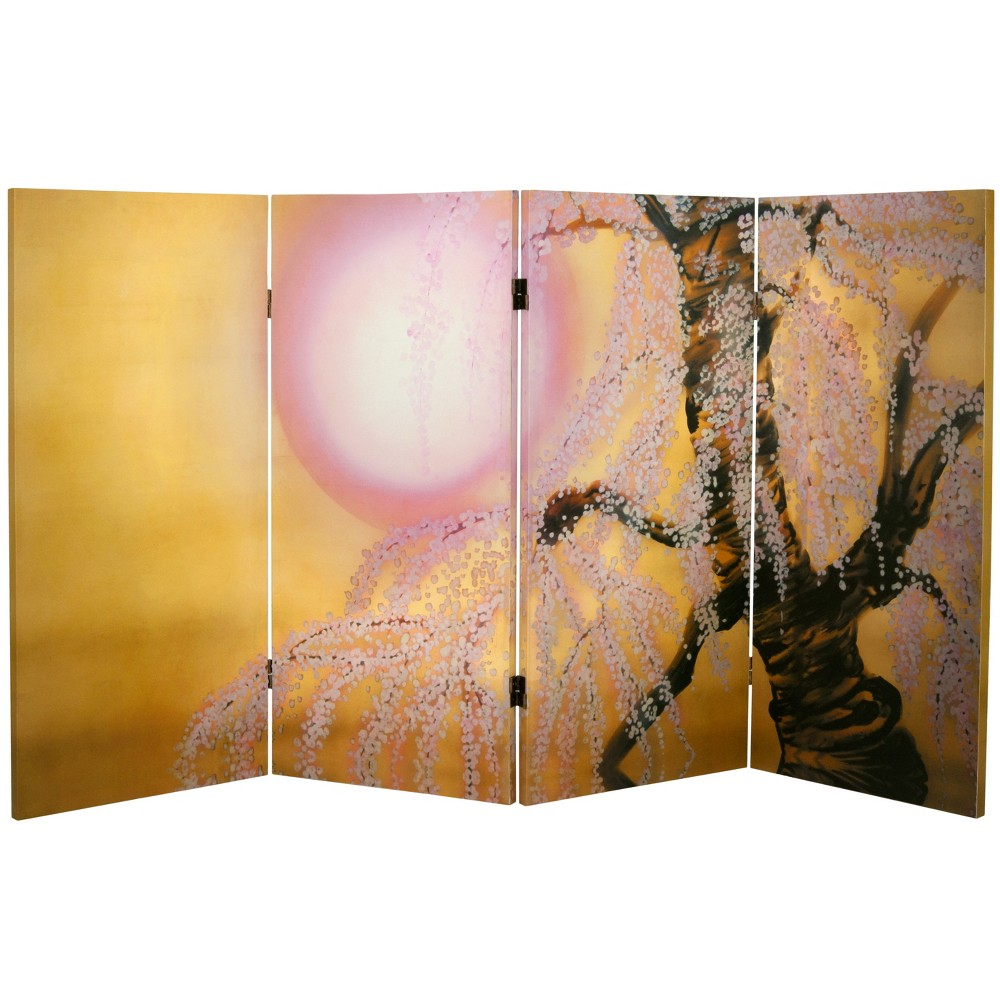 Image of 3' Tall Double Sided Sakura Blossoms Canvas Room Divider - Oriental Furniture, Gold