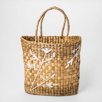 "18.8"" x 14.7"" Embroidered Water Hyacinth Basket Natural/White - Threshold™"