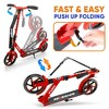 Hurtle Renegade HURTSRD.5 Lightweight Foldable Teen and Adult Adjustable Ride On 2 Wheel Transportation Commuter Kick Scooter, Red (2 Pack) - image 3 of 4