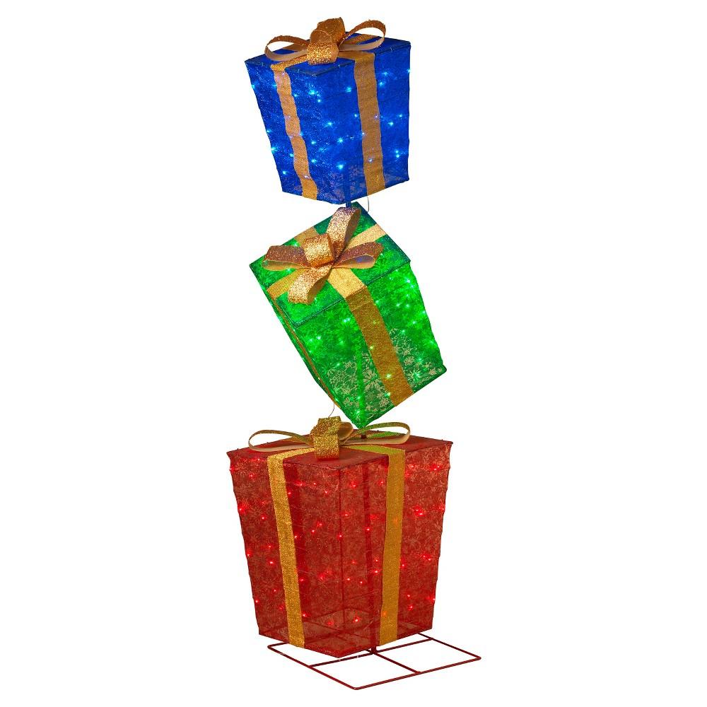 6' 3ct Glittering Multicolored Gift Boxes, Multi-Colored