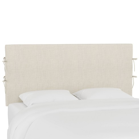 King Slipcover Headboard with Ties Linen Talc - Skyline Furniture - image 1 of 4