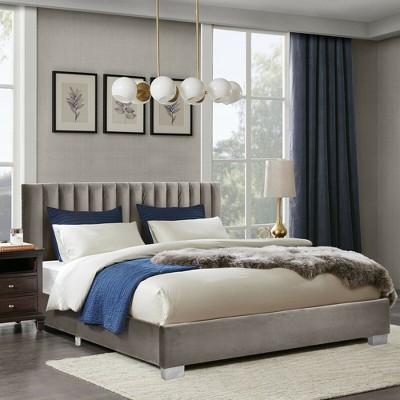 Costway Full Tufted Upholstered Platform Bed Frame Flannel Headboard Light Grey