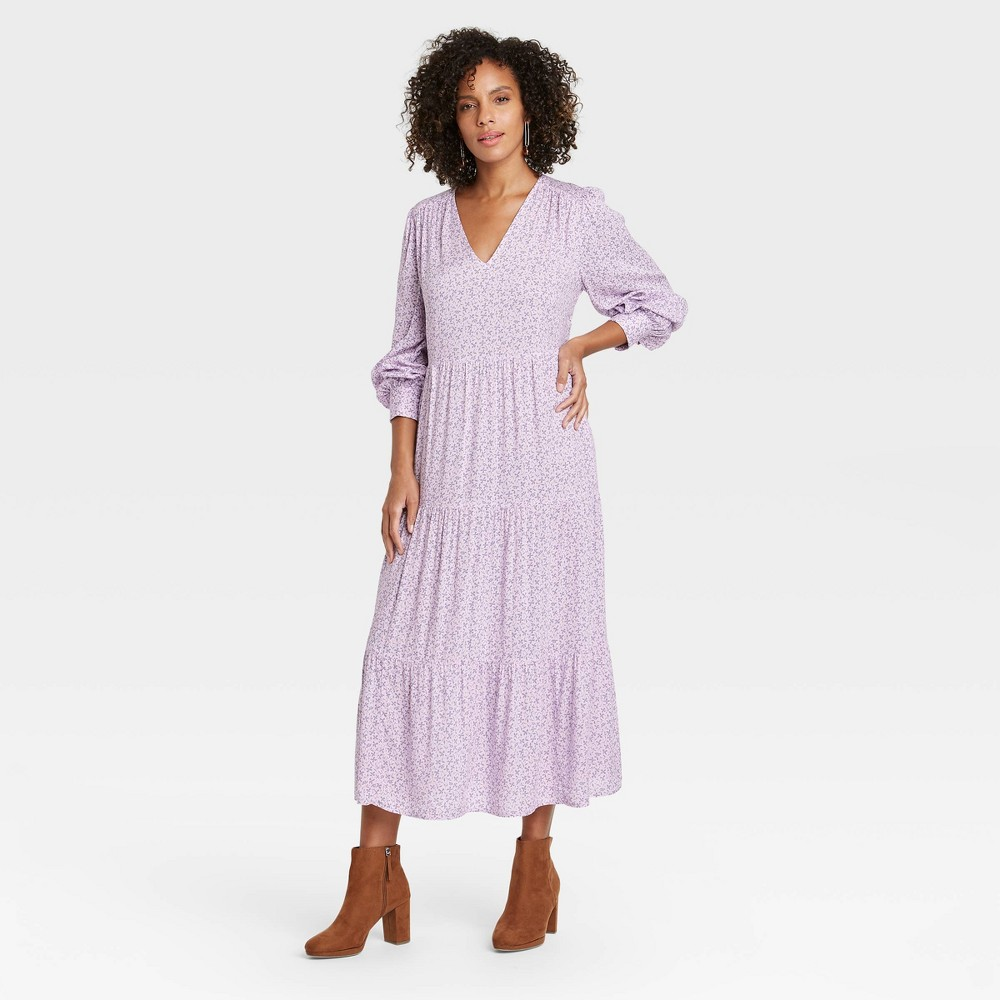 Women 39 S Printed Long Sleeve Tiered Dress A New Day 8482 Lavender Xs