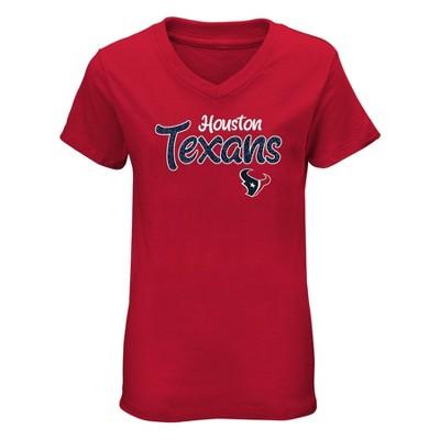 NFL Houston Texans Girls' Short Sleeve V-Neck Core T-Shirt
