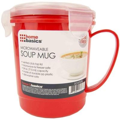 Home Basics 24 oz. Plastic Microwaveable Soup Mug, Red/Clear