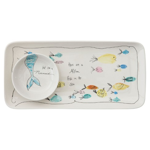 Stoneware Plate & Small Round Dish with Fish Print White/Blue/Yellow 2pc - 3R Studios - image 1 of 1