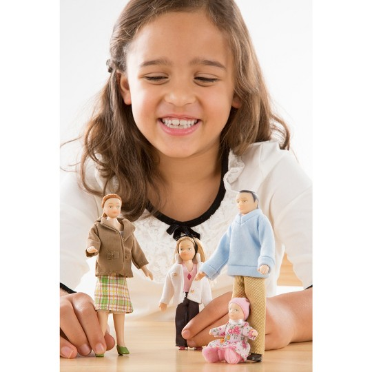 Melissa & Doug 4-Piece Victorian Vinyl Poseable Doll Family for Dollhouse - 1:12 Scale image number null