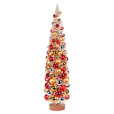 """Vickerman 24"""" Vintage Tabletop Frosted Gold Artificial Christmas Tree, Red, Gold, Silver Ornament"""