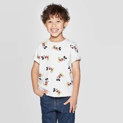 Toddler Boys' Mickey Mouse Print Short Sleeve T-Shirt - Beige 3T