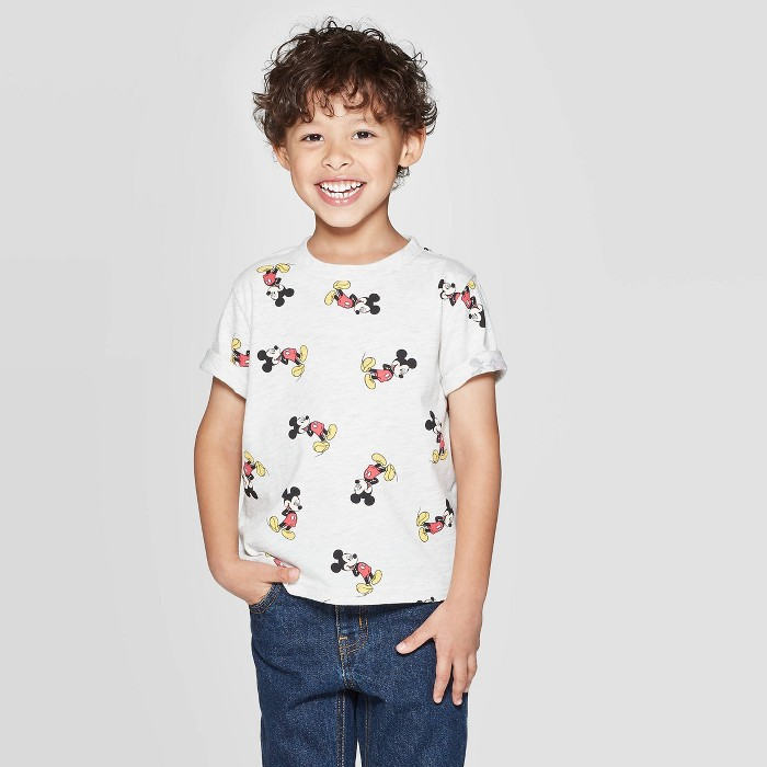 Toddler Boys' Mickey Mouse Print Short Sleeve T-Shirt - Beige - image 1 of 3