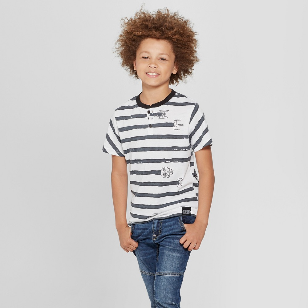 Boys' Star Wars Short Sleeve Henley Shirt - Black/White M, Gray