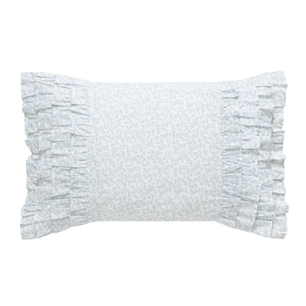 Laura Ashley Chloe Ruffle Throw Pillow Blue