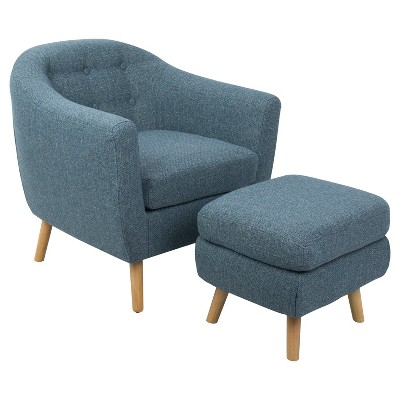 Rockwell Mid   Century Modern Chair With Noise Fabric   Ottoman Included    Blue   Lumisource