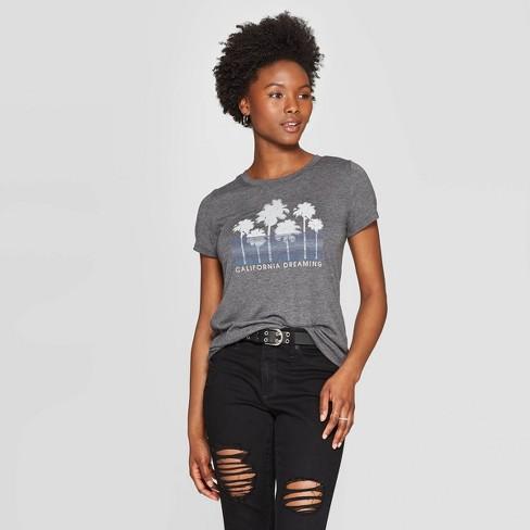 Women's Short Sleeve Scoop Neck California Dreaming Graphic T-Shirt - Awake Gray S - image 1 of 2