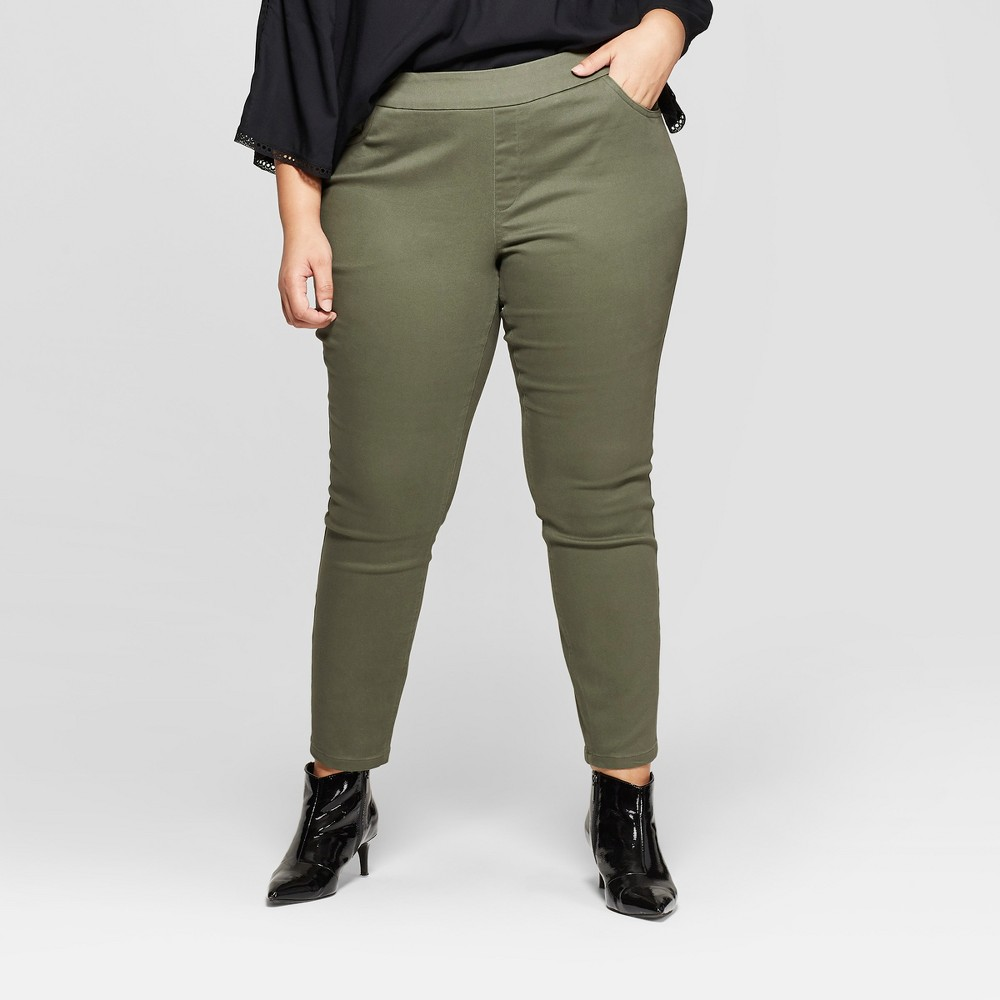 Women's Plus Size Pull On Skinny Chino Pants - Ava & Viv Olive (Green) 1X