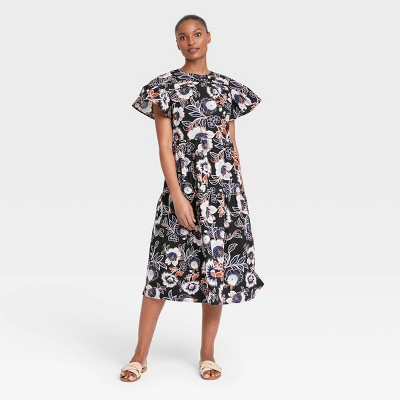 Women's Floral Print Flutter Short Sleeve A-Line Dress - Who What Wear™
