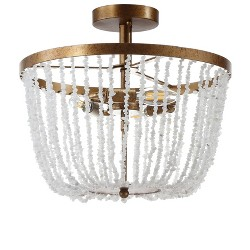 "15"" Georgian Stone/Metal LED Flush Mount Ceiling Light Antique Gold - JONATHAN Y"