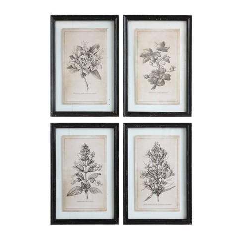 Set Of 4 Designs Wood Framed Decorative Wall Art With Floral Images 3r Studios Target