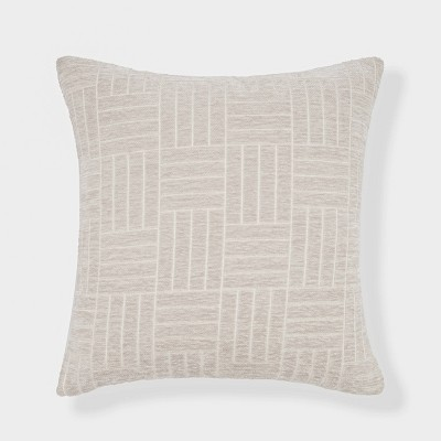"""18""""x18"""" Staggered Striped Chenille Woven Jacquard Square Throw Pillow Taupe - freshmint"""