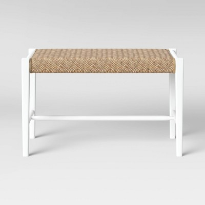 Miraculous Wood And Woven Bench White Threshold Brickseek Andrewgaddart Wooden Chair Designs For Living Room Andrewgaddartcom