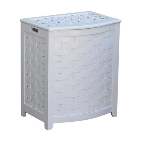 Oceanstar Bowed Front Veneer Laundry Wood Hamper with Interior Bag - image 1 of 4