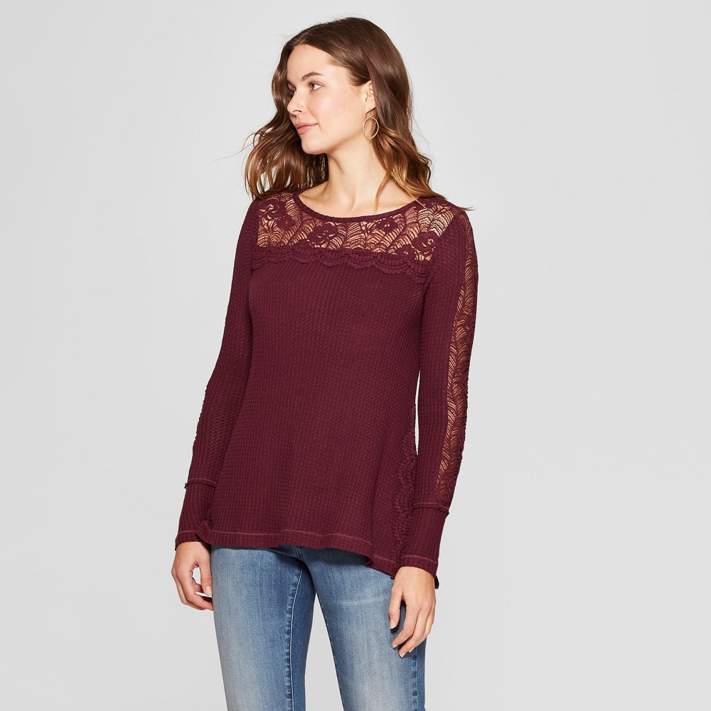 Women's Long Sleeve Crochet Waffle Blouse - Knox Rose Burgundy (Red) M