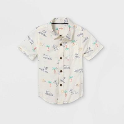 Toddler Boys' Island Print Challis Woven Short Sleeve Button-Down Shirt - Cat & Jack™ Cream
