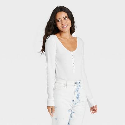 Women's Long Sleeve Henley Neck Pointelle Shirt - Universal Thread™