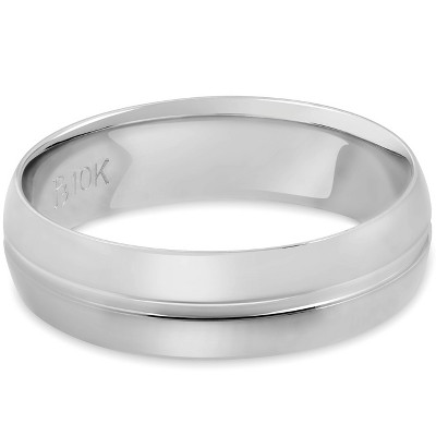 Pompeii3 Mens 10k White Gold 6MM Polished Dome Carved Wedding Band Comfort Fit Ring