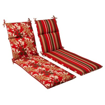 Outdoor Reversible Chaise Lounge Cushion - Brown/Red Floral/Stripe - Pillow Perfect