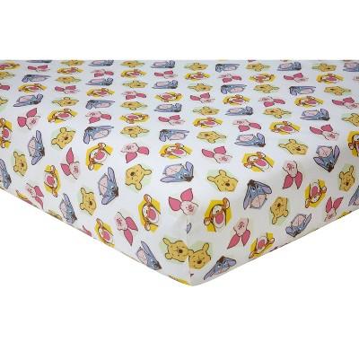 Disney Winnie The Pooh Peeking Pooh Cotton Fitted Crib Sheet