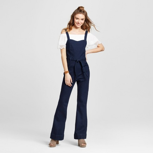 9785fdc60028 Women s Tie Waist Denim Jumpsuit - Dollhouse (Juniors ) Dark Wash M   Target