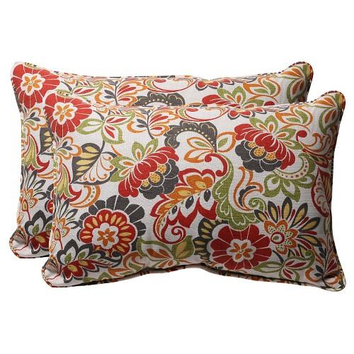 'Outdoor 2-Piece Lumbar Toss Pillow Set - Green/Off-White/Red Floral 24'''