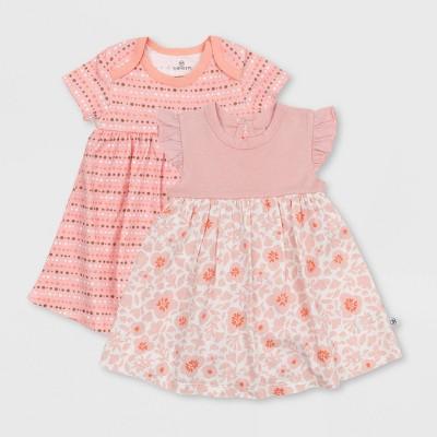 Honest Baby Girls' 2pk Organic Cotton Papercut Floral Dress - Pink 0-3M