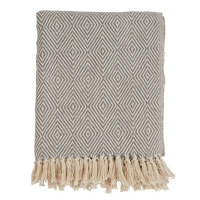 50 x60  Soft Cotton Diamond Weave Throw Blanket Gray - Saro Lifestyle
