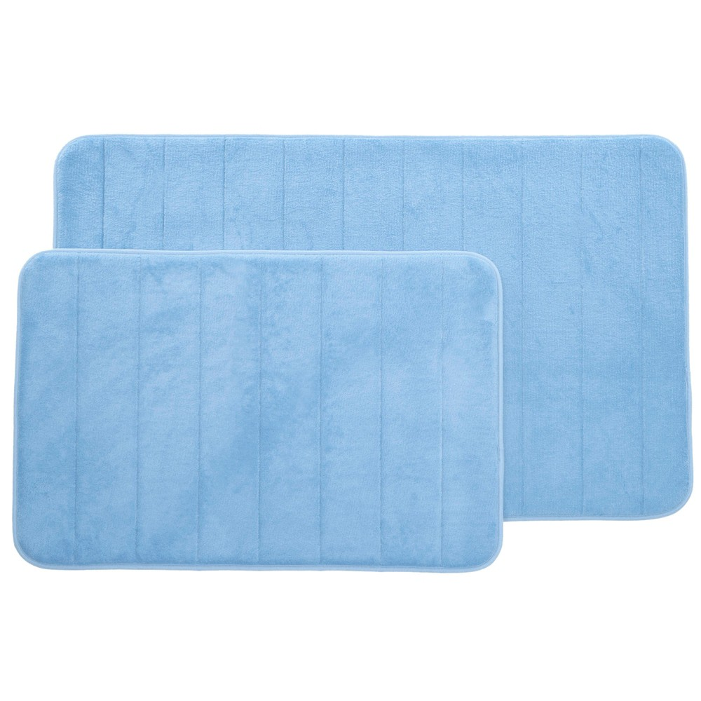 Image of 2pc Memory Foam Striped Bath Mat Set Blue - Yorkshire Home