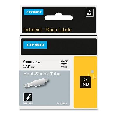 "Dymo Rhino Heat Shrink Tubes Industrial Label Tape 3/8"" x 5 ft White/Black Print 18053"