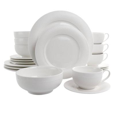 20pc Porcelain Dione Dinnerware Set White - Elama