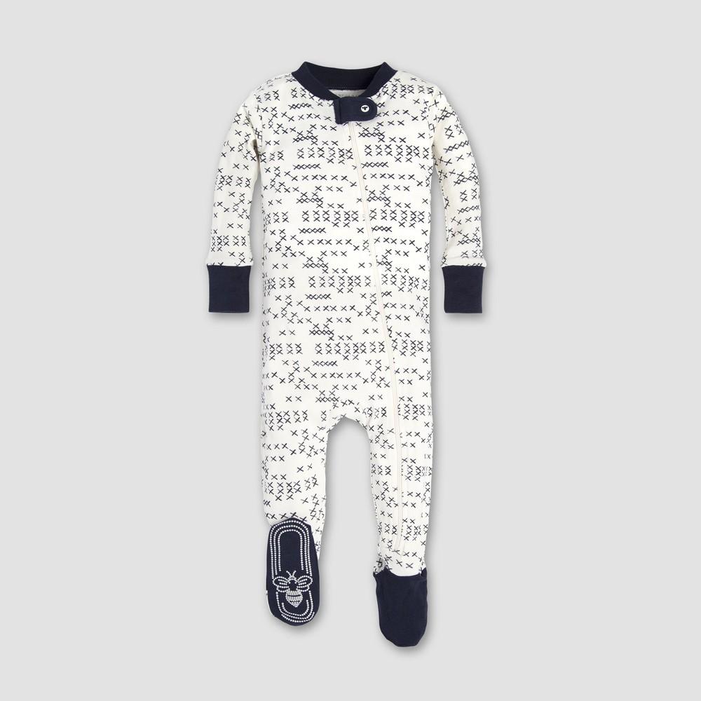 Burt's Bees Baby Baby Boys' Cross Stitched Sleeper - Midnight 0-3M, Blue