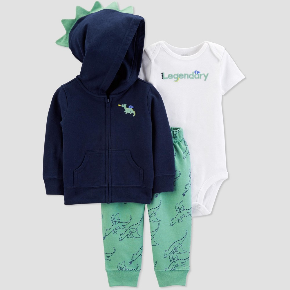 Baby Boys' 3pc Dragon Cardigan Set - Just One You made by carter's Navy Blue/White/Green 12M