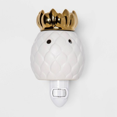 "5"" x 3"" Pineapple Dish Plug-In Scent Warmer Gold/White - Opalhouse™"