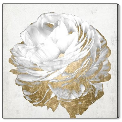 "12"" x 12"" Gold and Light Floral White Floral and Botanical Unframed Canvas Wall Art in Gold - Oliver Gal"