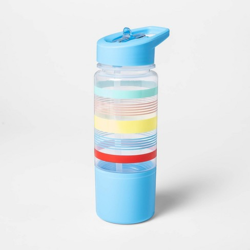 14oz Plastic Variegated Stripe Water Bottle with Snack Container - Sun Squad™ - image 1 of 2