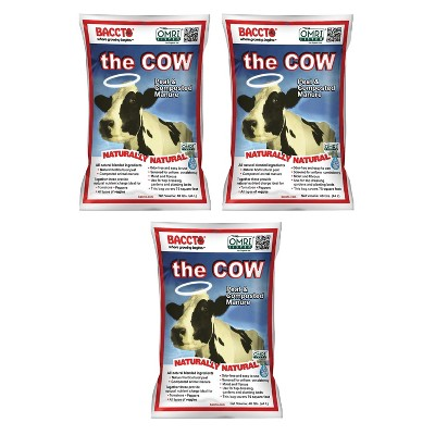 Michigan Peat Baccto 1640 Wholly Cow Horticultural Compost and Manure for Soil Amendment, Lawn Care, & Garden Beds, 40 Quart Bag (3 Pack)