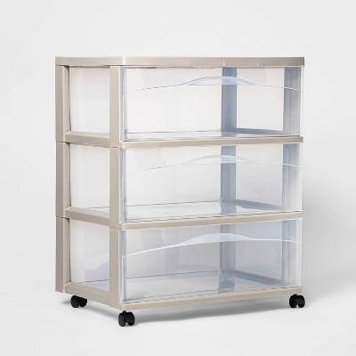 3 Wide Drawer Storage Cart Light Gray - Room Essentials™