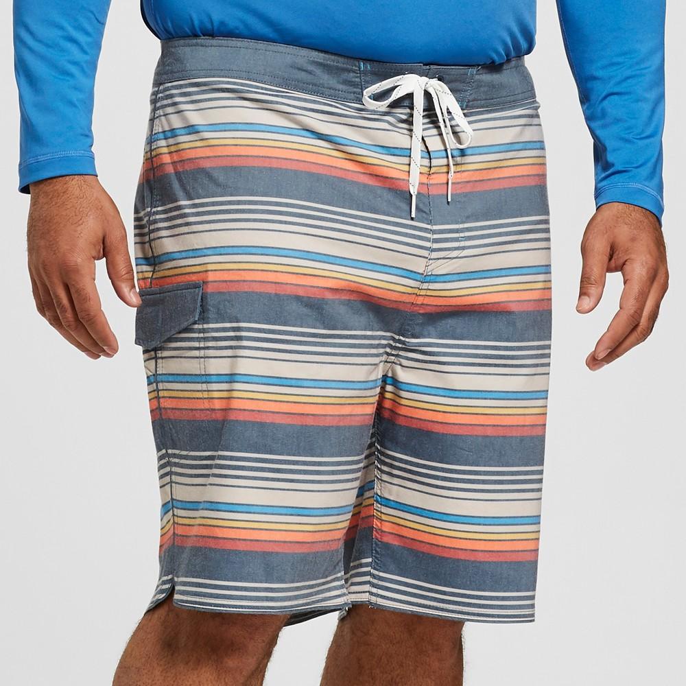 Men's Big & Tall Striped 10 Frankie Board Shorts - Goodfellow & Co Stone 56, White