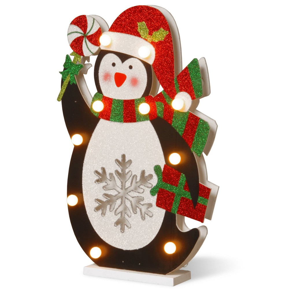 "Image of ""17"""" Prelit Wooden Penguin Decorative Sculpture - National Tree Company, White Black"""