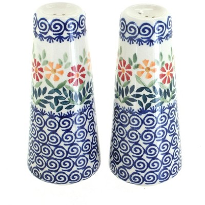 Blue Rose Polish Pottery Garden Bouquet Salt & Pepper Shakers